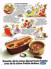 PUBLICITE ADVERTISING 025  1973  DANONE  DANETTE chocolat  le roi& le maladroit