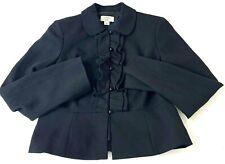 Ann Taylor Loft Women Blazer Suit Jacket Black Ruffle Button Up Peplum Wool 4P