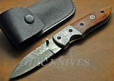 "DE9 ~ 8"" CUSTOM HANDMADE HRC DAMASCUS FOLDING KNIFE W COCOBOLO WOOD HANDLE - USA"