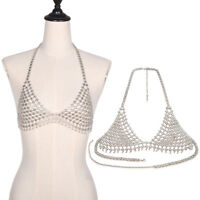 Vintage Womens Harness Top Bra Bikini Chainmail Lingerie Halter Criss Cross