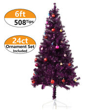 6 ft Tinsel Christmas Tree with 24ct Assorted Ornament Set, Metal Stand - Purple
