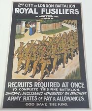 World War I Recruitment Double Sided Poster Fusiliers / Step into Your Place