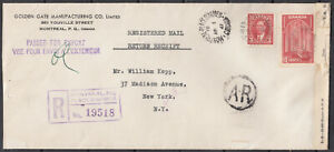 Canada Scott #233 & #241 Cover April 1, 1941 Montreal  to New York **