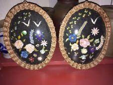 VTG Pr SEASHELL FLORAL PICTURE W/PINE NEEDLE & BUBBLE GLASS FRAME Seminole Oval