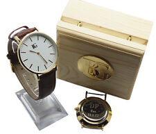 PERSONALISED Leather Wristwatch Luxury Watch Engraved FREE Unisex Wooden Case