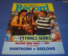1991 Second Semi Final AFL VFL Football Footy Record Hawthorn V Geelong 64 Pg
