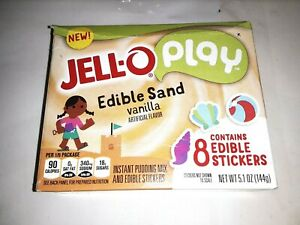Jell-O edible  sand,vanilla instant pudding, edible stickers,6/2020