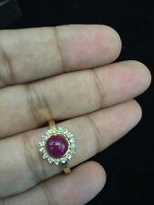4.44 Cts Round Brilliant Cut Diamonds Ruby Cocktail Ring In Fine 18K Yellow Gold
