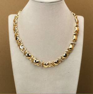 Hugs and Kisses Simple X Heart Plain 14k Gold Necklace Bracelet Ring Earrings 18