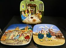 """Vintage (3) Royal Doulton Beswick Le 1st Edition Christmas 8"""" x 8"""" Plates Excell"""