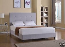 LT GREY Upholstered KING Size Platform Bed Frame & Slats Modern Home Bedroom NEW