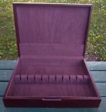 Vintage Silverware Flatware Wooden Box for Set of 12 Cherry Tone Anti Tarnish