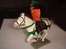 Figurine Starlux:Moyen Age Cavalier violi metal cape, bouclier bateau cheval bla
