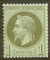 "FRANCE STAMP TIMBRE N° 25 "" NAPOLEON III 1c BRONZE 1870 "" NEUF xx TB"