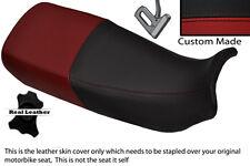 BLACK & DARK RED CUSTOM FITS HONDA XL 600 V TRANSALP DUAL LEATHER SEAT COVER