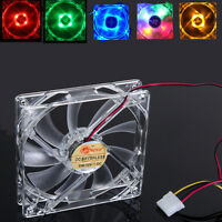 120mm PC Computer Clear Case Quad 4 LED Light CPU Cooling Fan 4 Pin 1200 RPM 12V