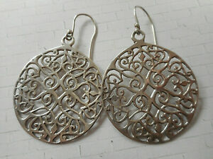 Sterling Silver Mexico Scroll Lace Cut Out Round Dangle Earrings   RE220227