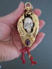 Victorian 22k Gold on Silver Skull Memento Mori Large Carved Pendant