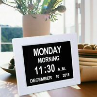 "8"" Large Digital LED Day Clock 6-Alarm Time Week Date Calendar Dementia Display"