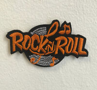 Rock n Roll Music Art Badge Orange Iron on Sew on Embroidered Patch