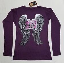 Sturgis Shirt Women's 2018 Purple Plum Long Sleeve Shirt Angel Wings V Neck