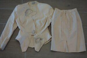 Tootsies Vintage Womens Ivory Sz 4 Pure Silk Dress Suit Jacket Skirt RARE EUC