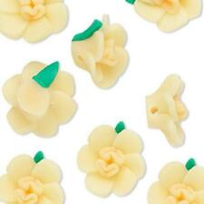 8987 Polyclay Rose Beads Yellow 14mm PK6 *UK EBAY SHOP*