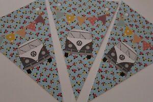 VW Camper Van Bunting Grey Van 6 Card Flags Vintage Floral Map Cath Kidson Style