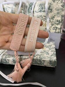 Dior J'adore Friendship Bracelet Set Dust Pink Cotton Woven Fashion Accessories