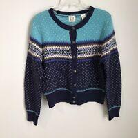 Vtg GAP Large Blue Fair Isle 100% Wool Cardigan Sweater