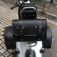 Black PU Leather Motorcycle Saddle Bags Saddlebags Side Storage Tool For Harley