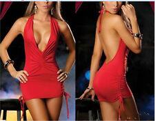Europe Bandage dress sexy Red halter dress sexy nightclub Size M 59-26