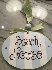 BEACH HOUSE painted  oval sign. Ready to hang