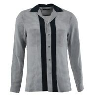 DOLCE & GABBANA Silk Shirt Riviera with Polka Dots Grey Blue 03391