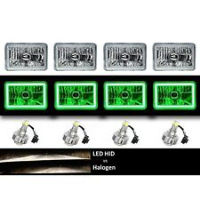 "4X6"" Green COB Halo Glass/Metal Headlight 6K LED H4 Light Bulb Headlamp Set"