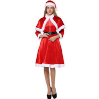 Adult Women's Cosplay Party Mrs. Santa Claus Costume Miss Fancy Dress Belt Hat