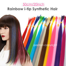 20inch Lot 5/50/100s Solid Colors Synthetic Fiber I Tip Feather Hair Extension