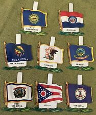 Vintage Nabisco Cereal Premiums (8) Tin Badge State Flags w fold back tabs 1959