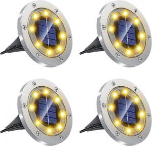 4 Lumiere solaire exterieur spot encastrable exterieur,Acier inoxydable...