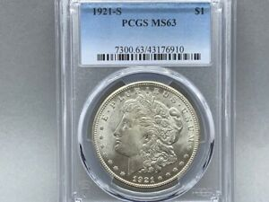 1921-S PCGS MS 63 Morgan Silver Dollar! Original! Great Strike and Luster! White