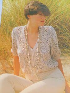Ladies Short Sleeve Lace Panel Cardigan DK Knitting Pattern Size 76-102cm - L143