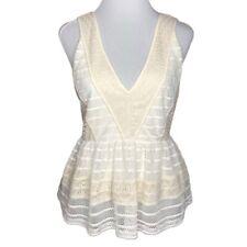 Chelsea28 Peplum Top M White Beige Crochet Lace Sleeveless Blouse NWOT