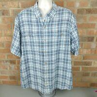 Duluth Trading Co Mens Short Sleeve Hemp Blend Shirt 2XL Blue Plaid