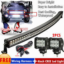 50inch Curved LED Light Bar Combo + 2× 4inch CREE Flood Work Lamp Offroad SUV 52
