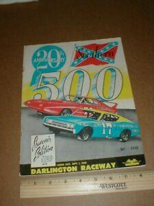 1969 Darlington Raceway Southern 500 vtg original Nascar Auto Racing Program S/L