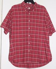 Men's Dockers Red/ White/Black Plaid Short Sleeve Button Up Shirt Size Large