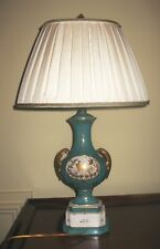 PAIR OF ANTIQUE SEVRES LAMPS-HAND MADE PLEATED SILK SHADES, TRIM, CUSTOM