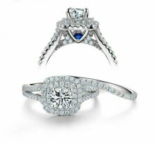 1.30 TCW Round Cut Moissanite Engagement Ring Bridal Set in 14K White Gold Over