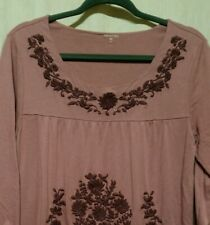 Garnet Hill Women Sz M Knit Top Mauve Embroidered Fl 3 4 Sleeve Cotton Blend