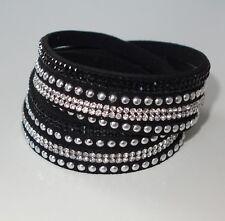A288 - Wickelarmband - NEU - Schwarz Glitzer Strass Nieten Armband Mädchen Damen